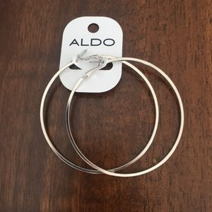 Aldo silver hoop earrings 3""